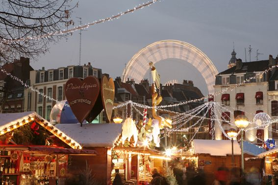Christmas market  and Grande Roue in Lille